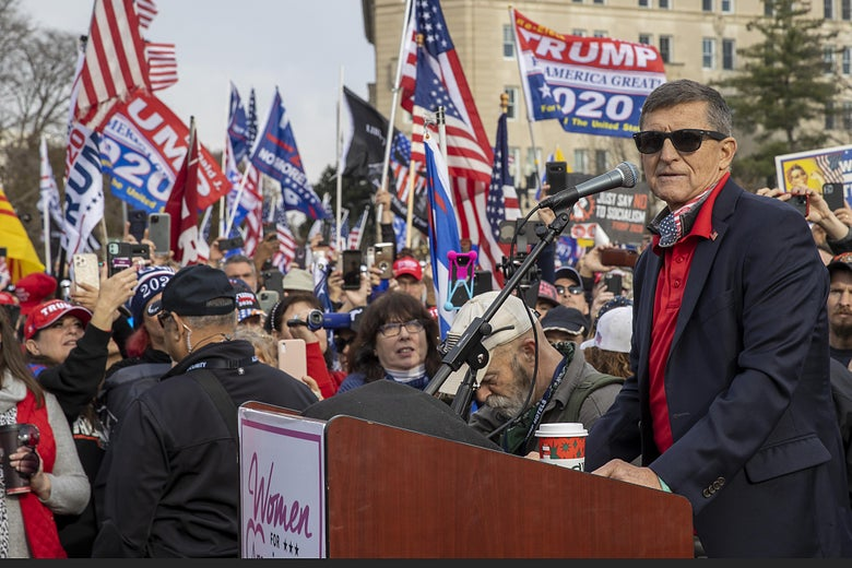 Michael Flynn speaks during a protest of the outcome of the 2020 presidential election outside the Supreme Court on December 12, 2020 in Washington, D.C.