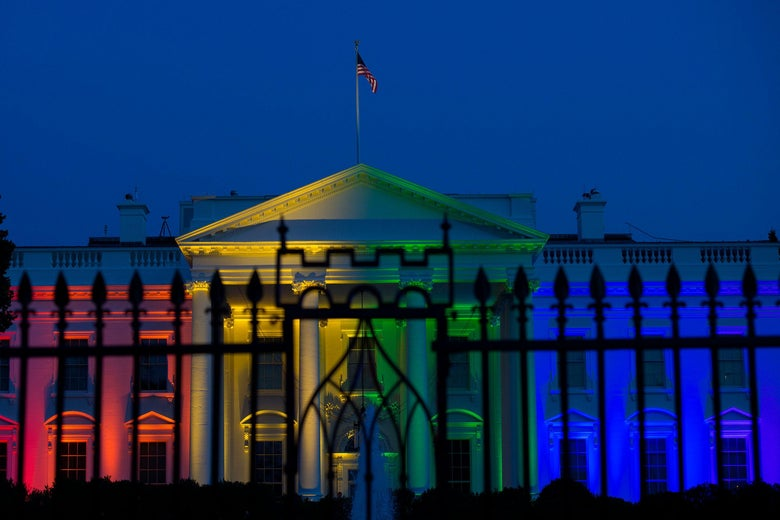 The White House lit up in rainbow colors