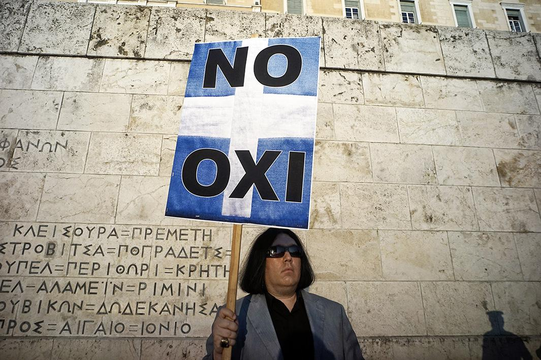 Demonstrators during a rally in Athens, Greece.