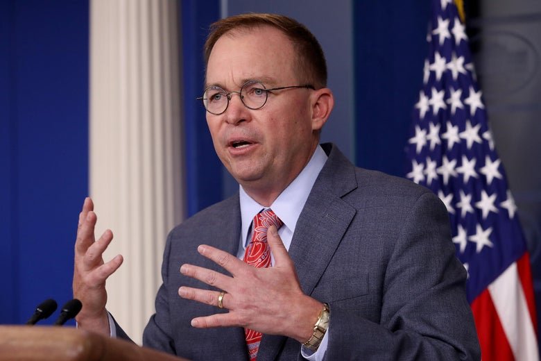 Acting White House Chief of Staff Mick Mulvaney answers questions during a briefing at the White House October 17, 2019 in Washington, D.C.