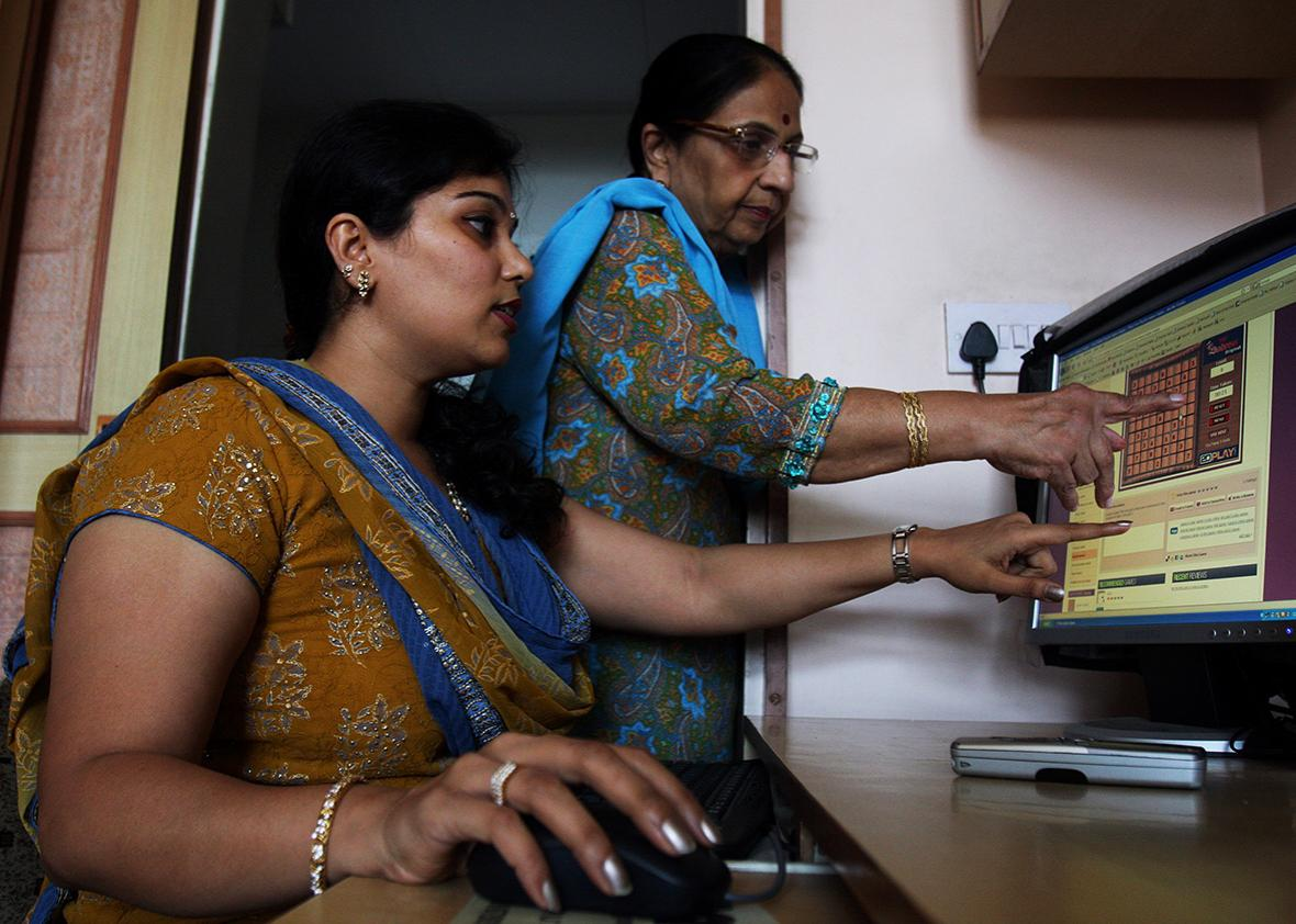 Radhika Seth with her mother-in-low playing online game at her residence in Andheri.
