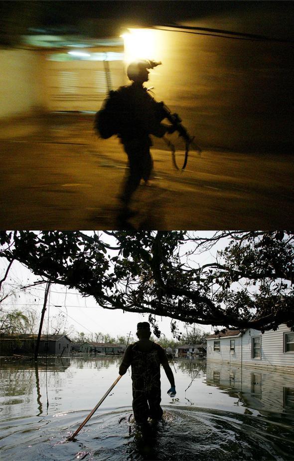 Silhouette patrol Katrina Iraq