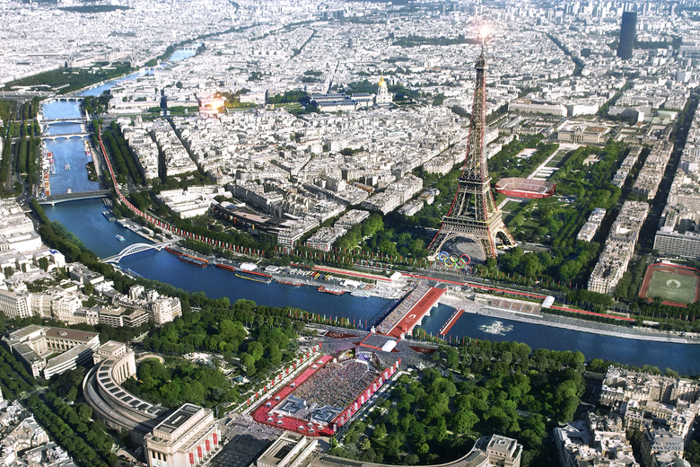 A rendering showing the Eiffel Tower with Olympic venues in the park below