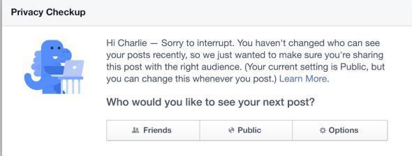 Facebook privacy message