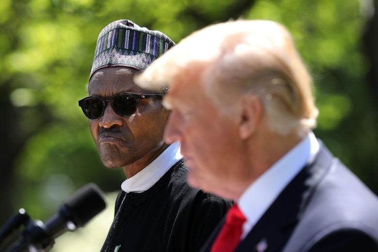 WASHINGTON, DC - APRIL 30:   Nigerian President Muhammadu Buhari (L) listens to U.S. President Donald Trump during their a joint press conference in the Rose Garden of the White House April 30, 2018 in Washington, DC. The two leaders also met in the Oval Office to discuss a range of bilateral issues earlier in the day.  (Photo by Chip Somodevilla/Getty Images)