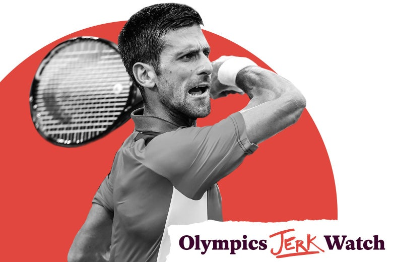 Novak Djokovic's follow-through after hitting a forehand, with the Olympics Jerk Watch label in the bottom right corner.