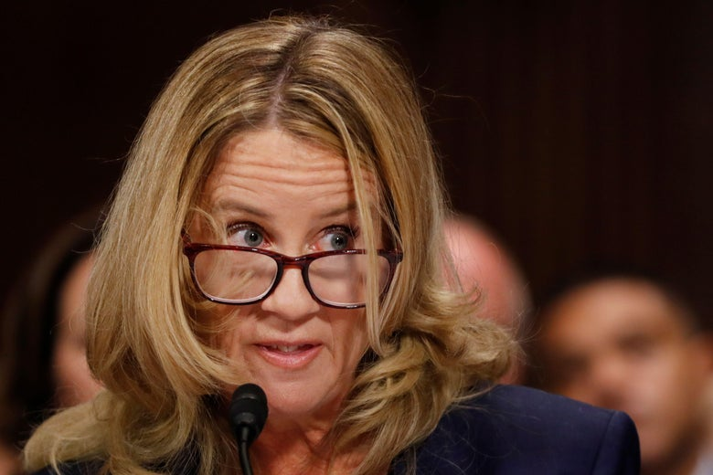 Christine Blasey Ford during her testimony at the Senate Judiciary Committee.