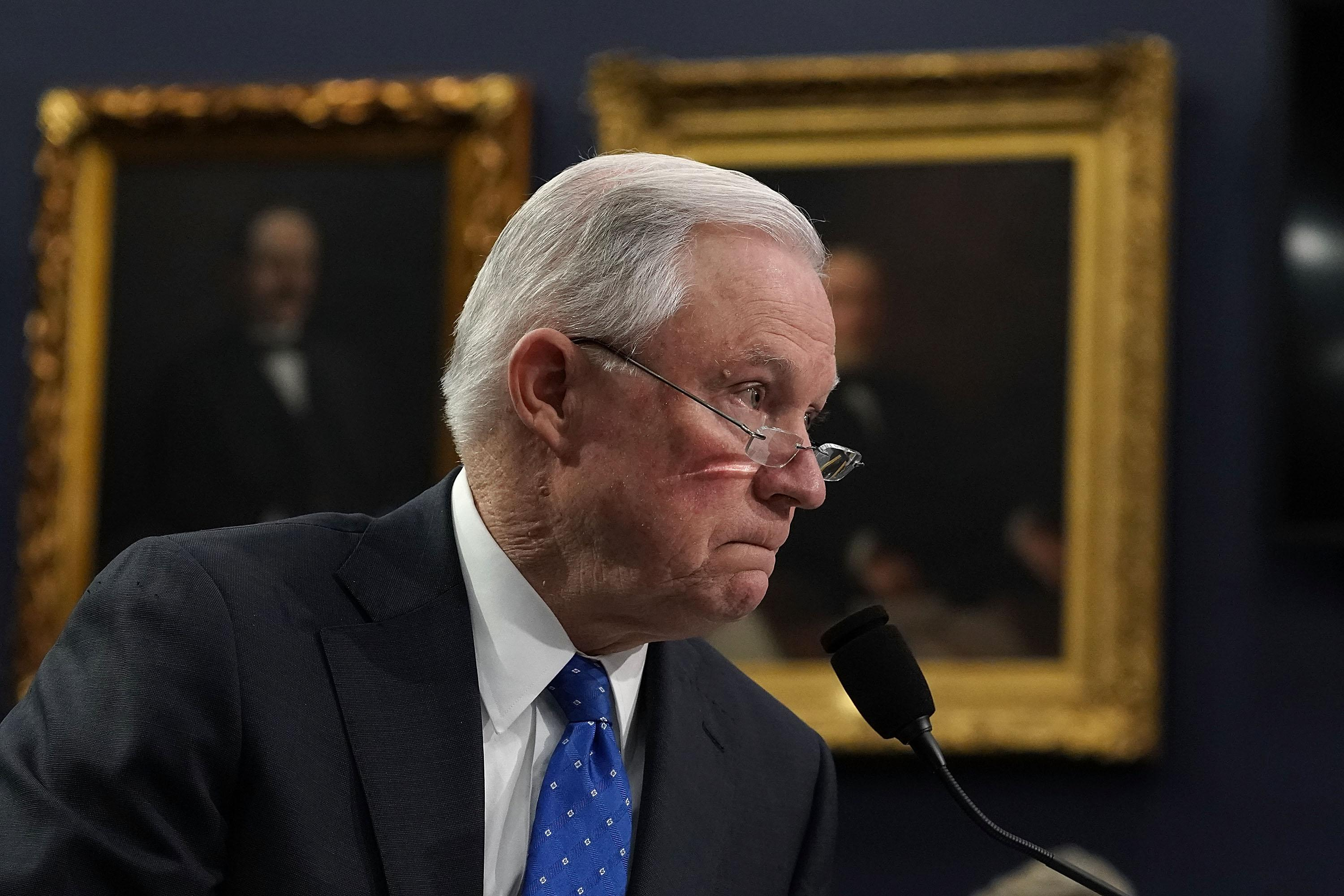 Attorney General Jeff Sessions testifies during a hearing before the Commerce, Justice, Science, and Related Agencies Subcommittee of the House Appropriations Committee on April 26, 2018 on Capitol Hill in Washington, D.C.