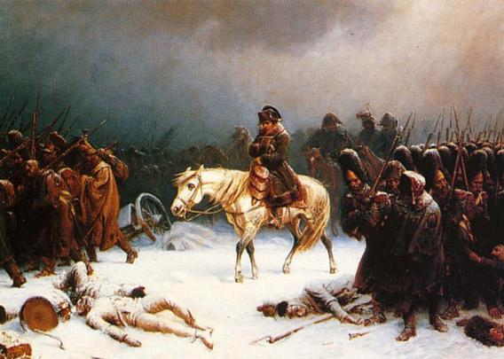 """Adolph Northen's (1828-1876) painting of """"Napoleon's Eetreat from Moscow""""."""