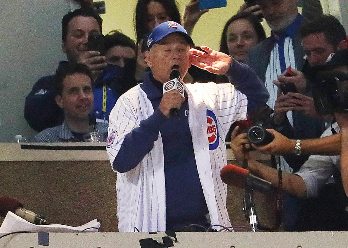 "Actor Bill Murray sings ""Take Me Out to the Ballgame"" in the seventh inning in Game Three of the 2016 World Series between the Chicago Cubs and the Cleveland Indians at Wrigley Field on October 28, 2016 in Chicago, Illinois."
