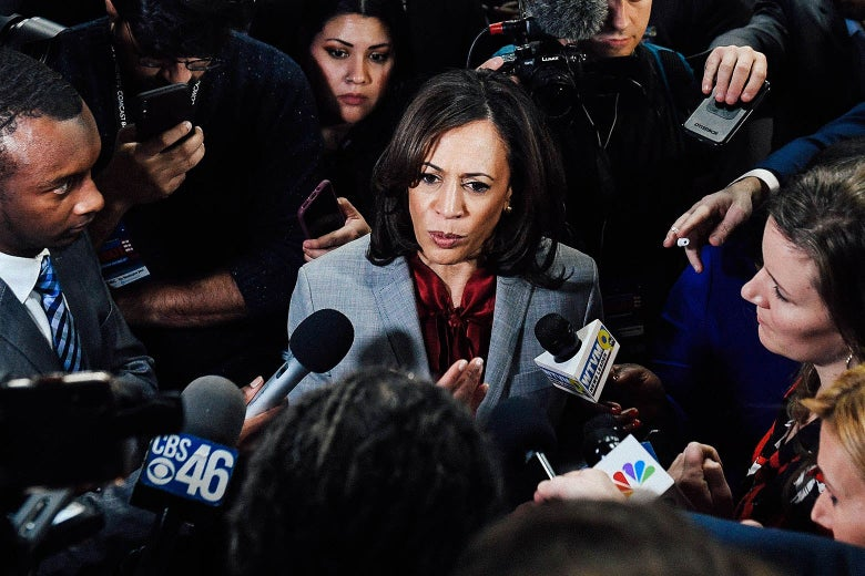 Kamala Harris speaks to the press after participating in the fifth Democratic primary debate of the 2020 presidential campaign season on Nov. 20.