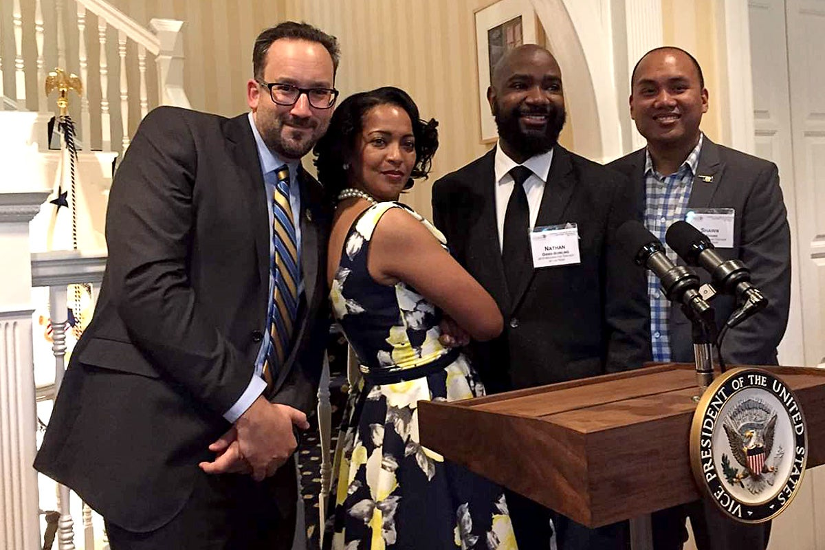 2016 Teachers of the Year Daniel Jocz, Jahana Hayes, Nate Bowling, and Shawn Sheehan at the White House