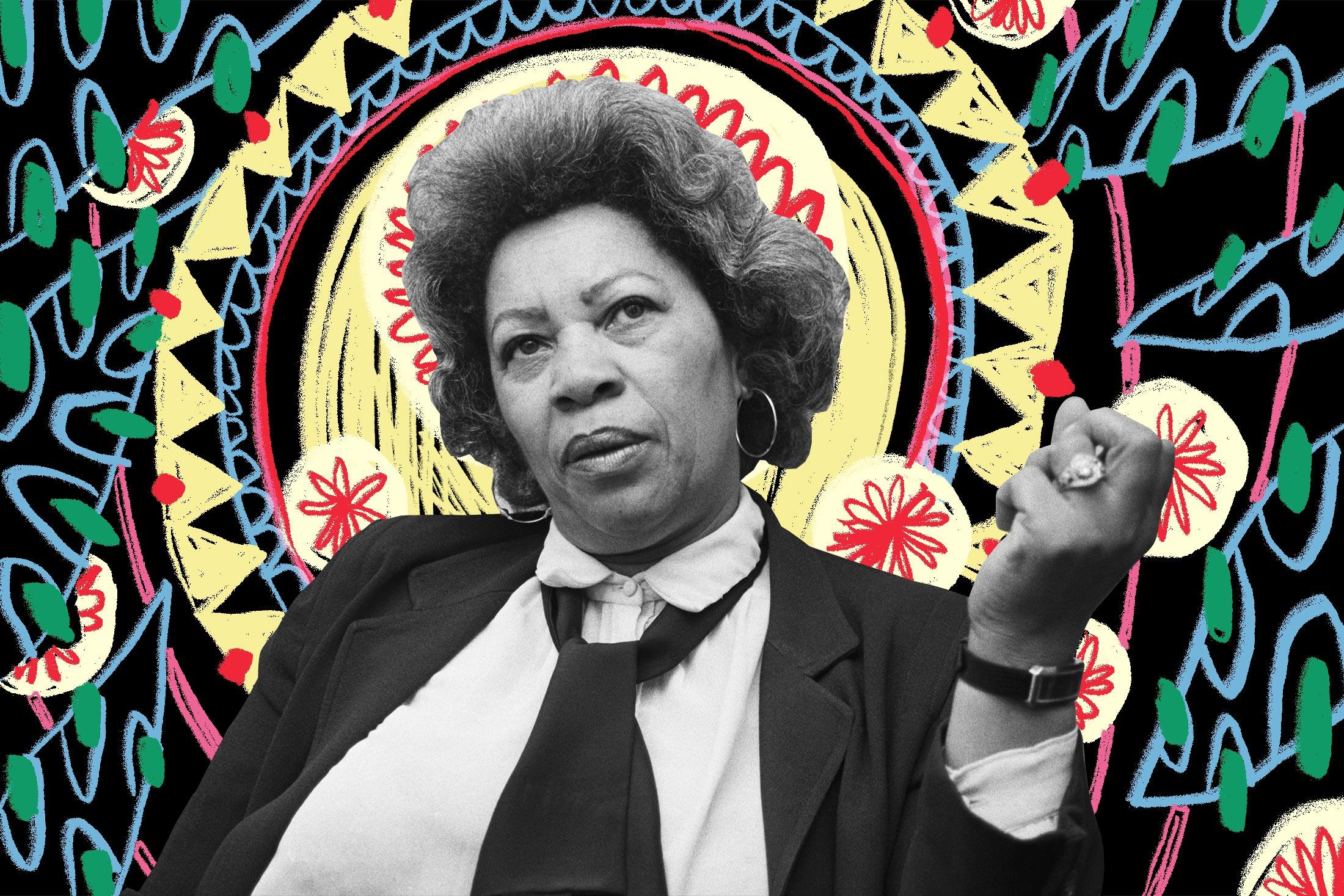 Toni Morrison on a patterned and radiant dark backdrop.