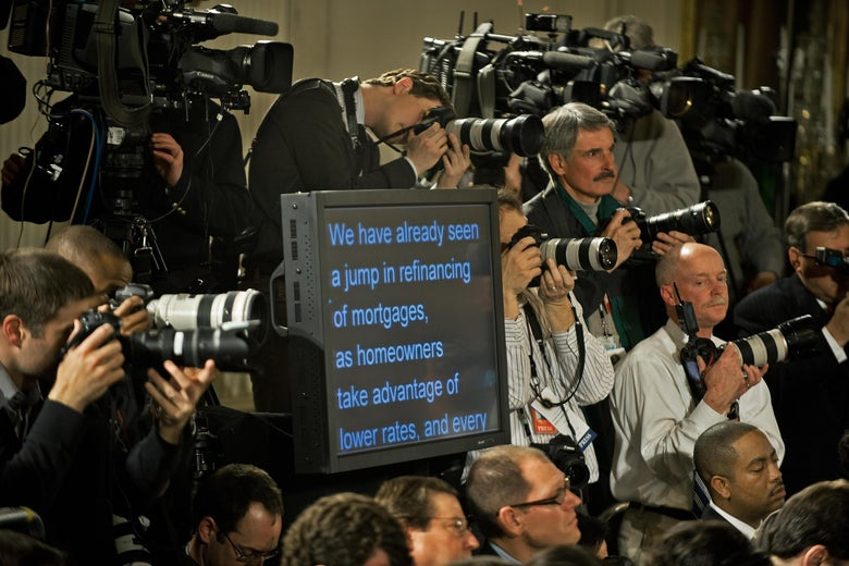 A teleprompter used by President Barack Obama during a prime-time press conference in the White House .