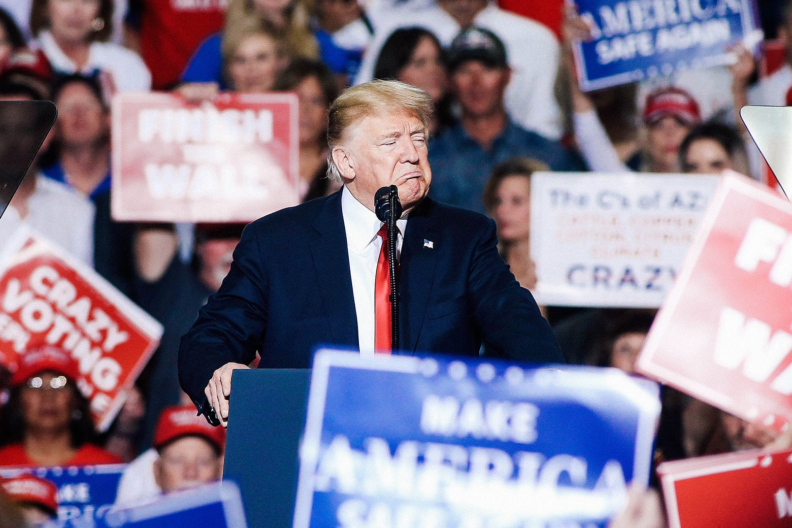 President Donald Trump speaks during a rally on Friday in Mesa, Arizona.