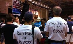 Two Ron Paul supporters cheer for Gary Johnson at the August 25 PAULfest rally in Tampa.