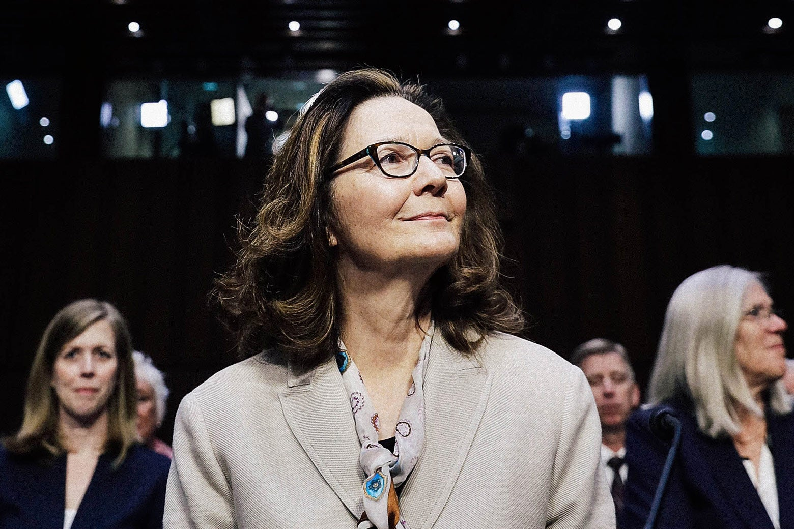 CIA acting Director Gina Haspel prepares to testify before the Senate Intelligence Committee during her confirmation hearing to become the next CIA director in the Hart Senate Office Building on Wednesday in Washington.