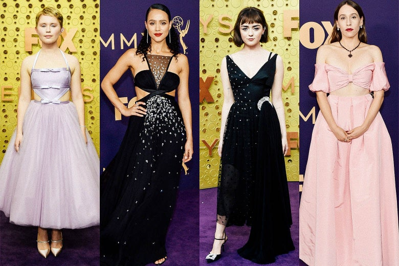 Eliza Scanlen; Nathalie Emmanuel; Maisie Williams; Sarah Sutherland on the Emmys purple carpet.