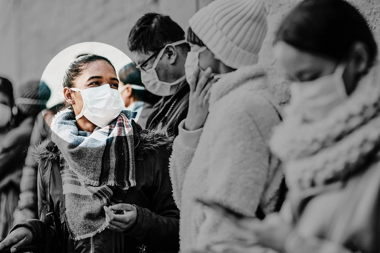 A woman with a mask on waiting in line. She is highlighted to show it's her turn.