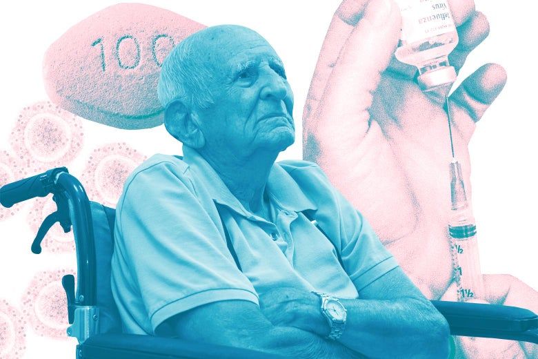 An older man sits in a wheelchair with images of pills and a needle behind him.