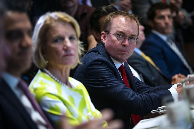 WASHINGTON, DC - JUNE 26: Mick Mulvaney, director of the Office of Management and Budget (OMB), attends a lunch meeting for Republican lawmakers in the Cabinet Room at the White House June 26, 2018 in Washington, DC. The president called the Supreme Court's 5-4 ruling in favor of the administration's travel ban a 'tremendous victory,' according to published reports.  (Photo by Al Drago-Pool/Getty Images)