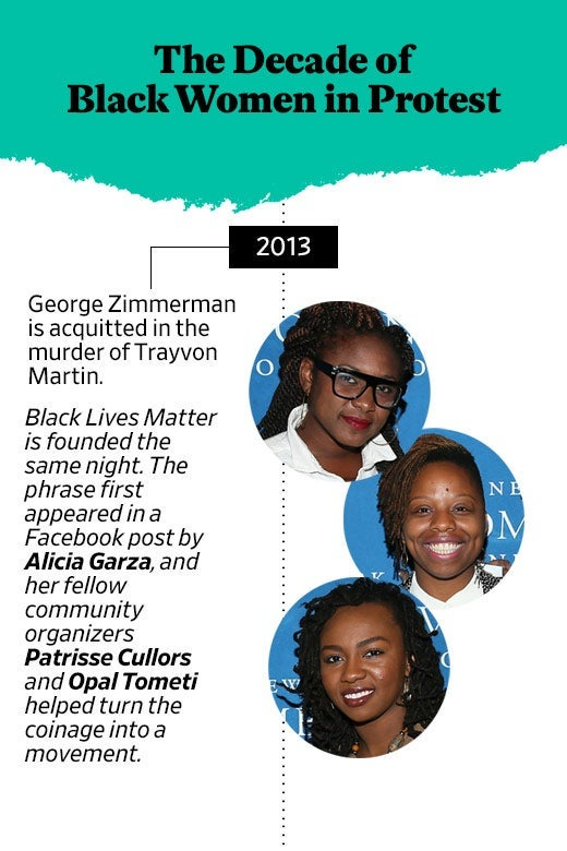 The Decade of Black Women in Protest: 2013, George Zimmerman is acquitted in the murder of Trayvon Martin. Black Lives Matter is founded the same night. The phrase first appeared in a Facebook post by Alicia Garza, and her fellow community organizers Patrisse Cullors and Opal Tometi helped turn the coinage into a movement.