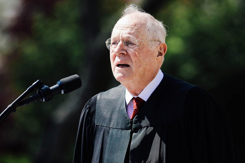 Supreme Court Associate Justice Anthony Kennedy delivers remarks before administering the judicial oath to Neil Gorsuch during a ceremony in the Rose Garden at the White House on April 10, 2017, in Washington.