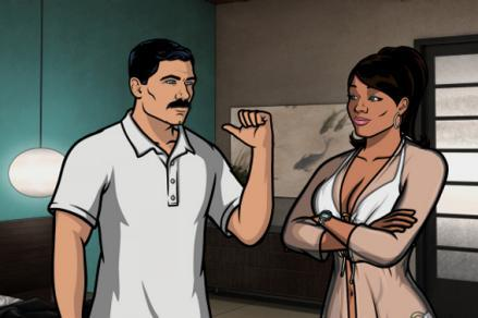 Sterling Archer voiced by H. Jon Benjamin and Lana Kane voiced by Aisha Tyler.