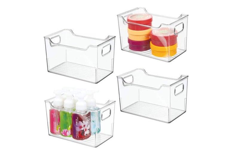 Four clear plastic bins