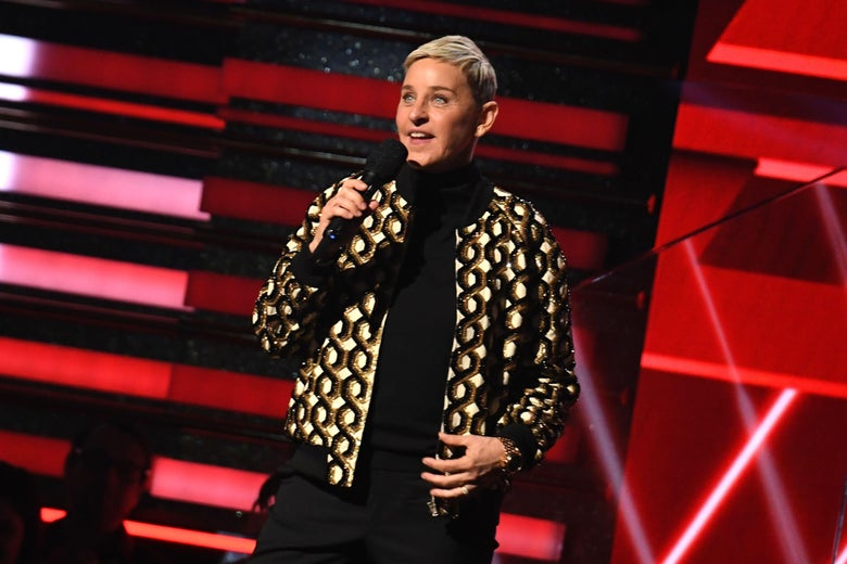 Ellen DeGeneres introduces Lil Nas X and Billy Ray Cyrus during the 62nd Annual Grammy Awards on Jan. 26, 2020, in Los Angeles.