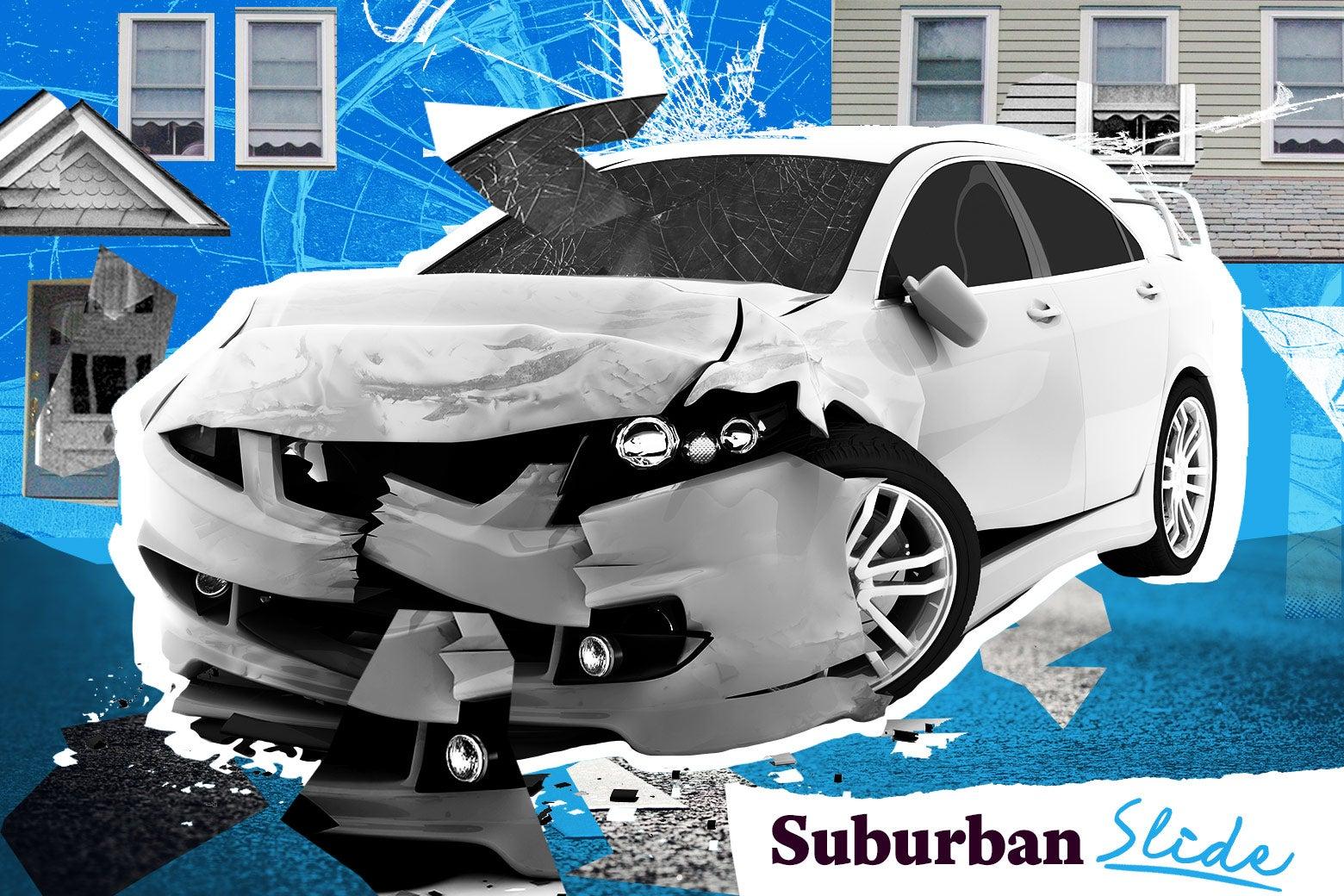 Broken down car in the suburbs.