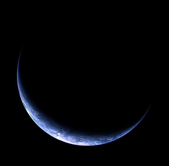Earth, as seen by the Rosetta spacecraft