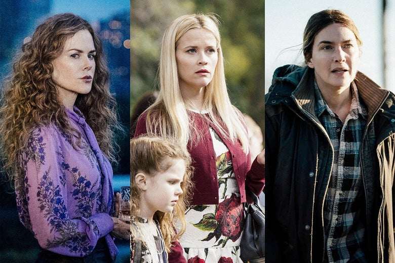 Nicole Kidman in The Undoing, Reese Witherspoon in Big Little Lies, Kate Winslet in Mare of Easttown.