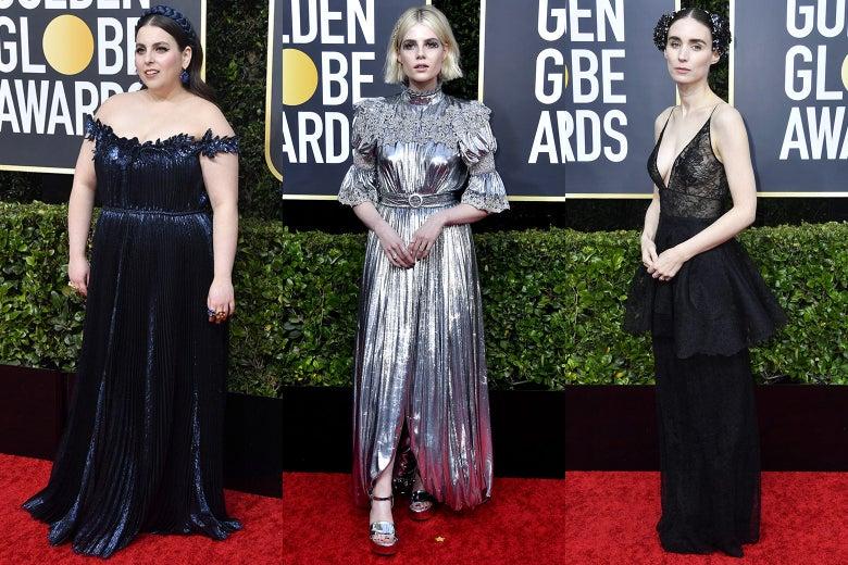 Beanie Feldstein, Lucy Boynton, and Rooney Mara on the 2020 Golden Globes red carpet.