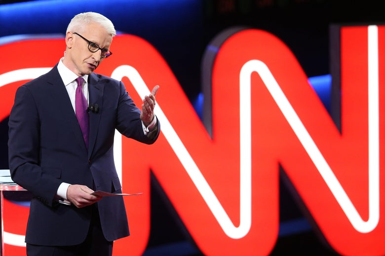Anderson Cooper at a CNN Democratic presidential debate in Flint, Michigan on March 6, 2016.