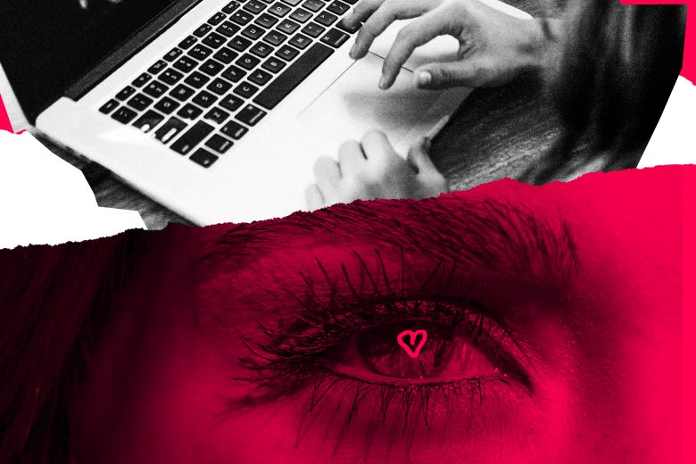 A person on a laptop and an eye with a heart drawn in it.