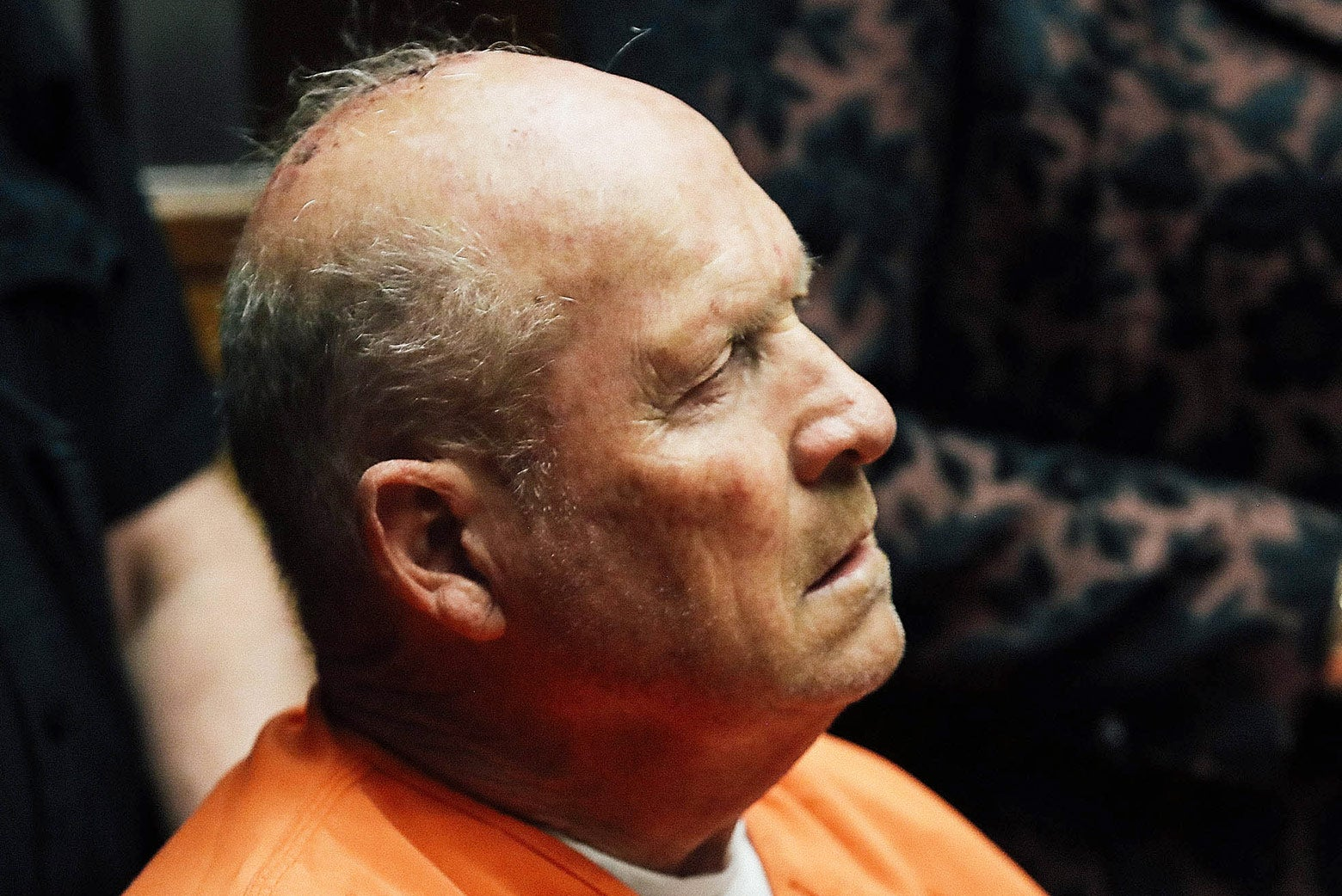 Joseph DeAngelo, the suspected Golden State Killer, appears in court for his arraignment on April 27 in Sacramento, California.