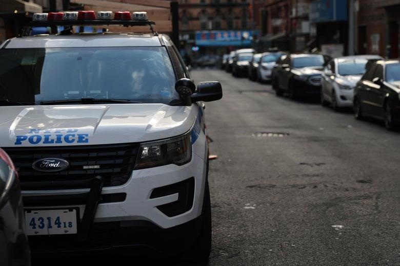 A police car seen on a Manhattan street