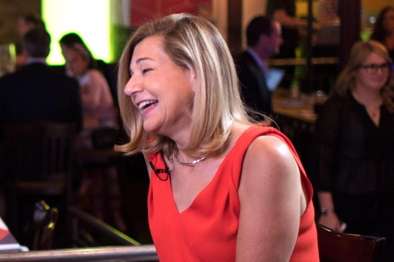Margaret Sullivan laughs while seated at the Washington Post live space on  July 27, 2016. Photo by Jabin Botsford/The Washington Post via Getty Images.