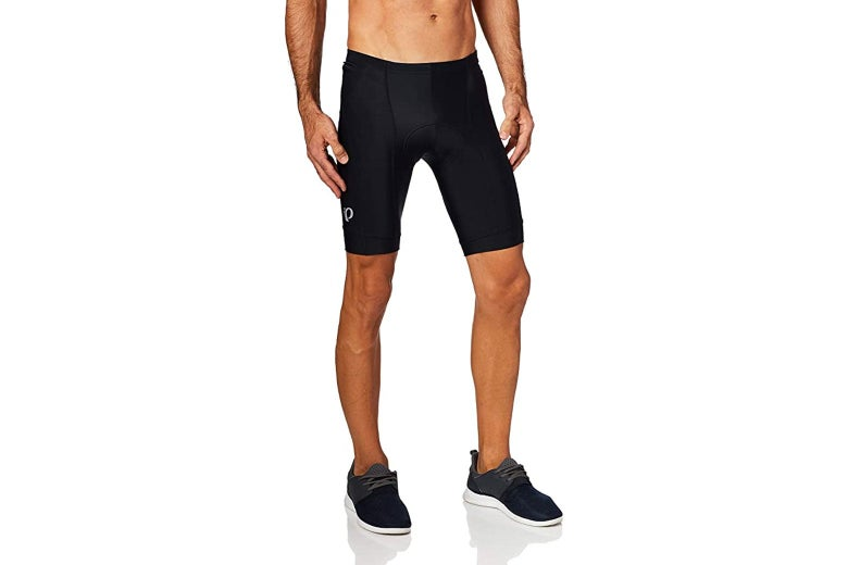 A model wearing black bike shorts.