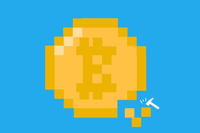 Illustration of pickaxe hacking at a Bitcoin.