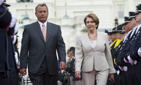 Speaker of the House John Boehner and Democratic Leader Nancy Pelosi.