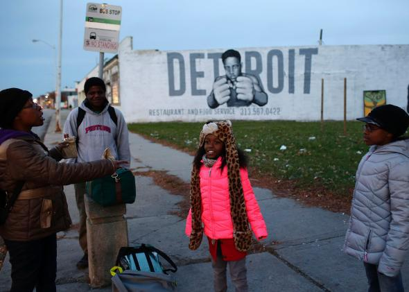bus stop in detroit michigan.