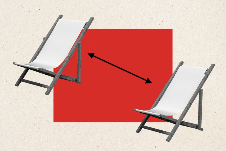 Two lounger chairs with an arrow between them indicating social distancing