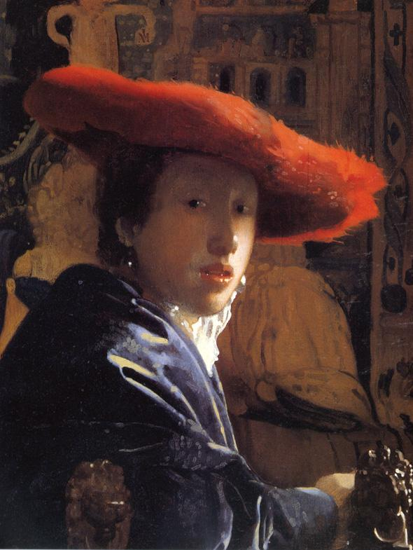 Girl with the red hat, oil on panel, 1665-1667.