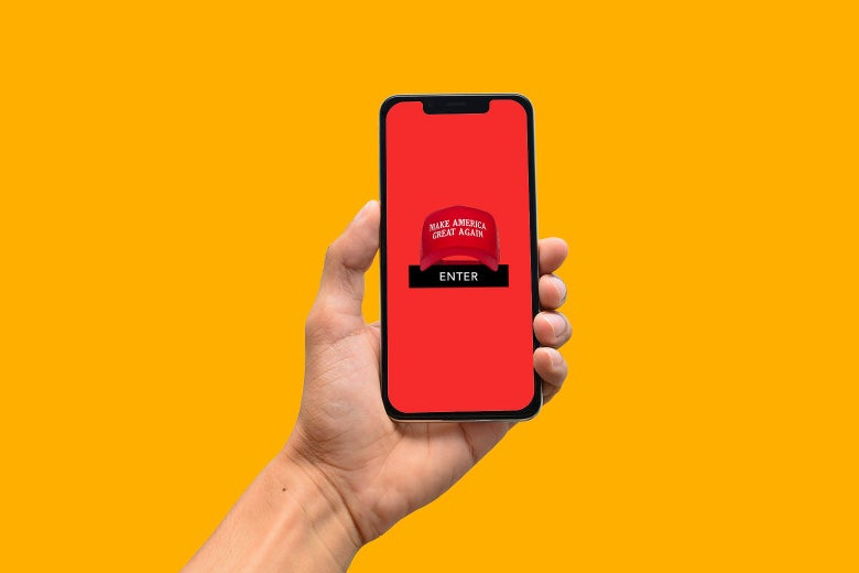 """Photo illustration of an ambiguous-looking mobile app with a Make America Great Again hat on top of the """"Enter"""" button."""