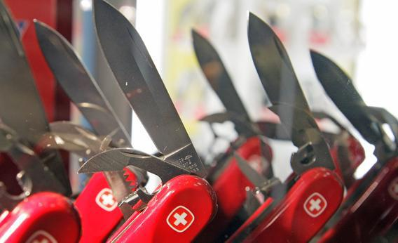 Swiss army knives are displayed in a shop in Montreux, Switzerland.