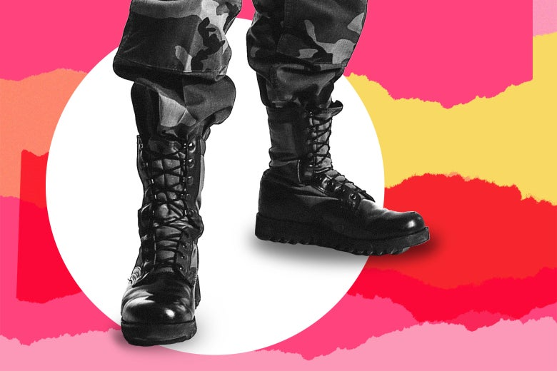 Care and Feeding background with combat boots and camo pants.