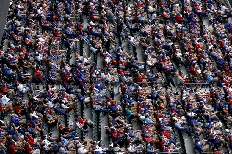 Row after row of Texas Rangers fans.