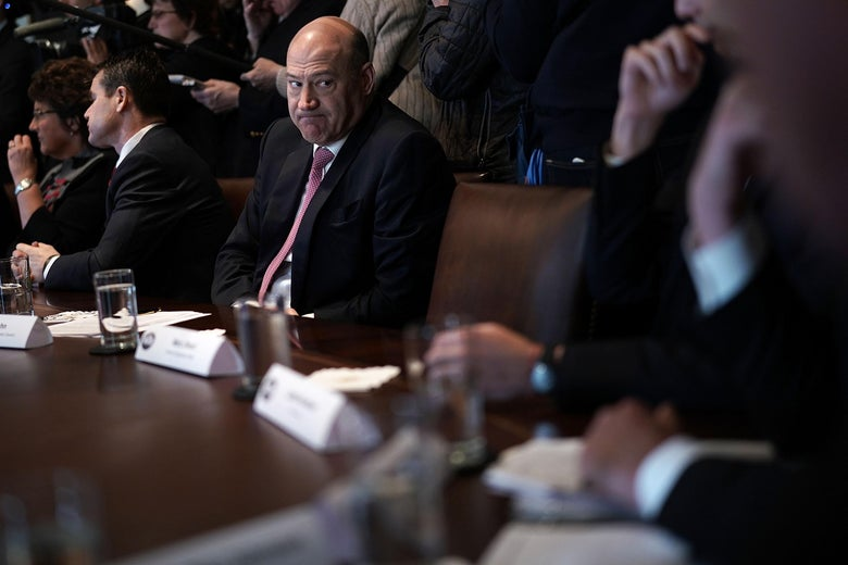 WASHINGTON, DC - FEBRUARY 13:  Director of the National Economic Council Gary Cohn (C) listens during a meeting between President Donald Trump and congressional members in the Cabinet Room of the White House February 13, 2018 in Washington, DC. President Trump held a meeting with congressional members to discuss trade.  (Photo by Alex Wong/Getty Images)